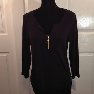 Ellen Tracy Womens Black Zip Pullover Size L NWT